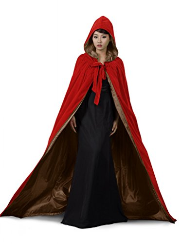 PingFeng Halloween Wedding Cloak Red Velvet Hooded Cape Brown Satin Wicca SCA