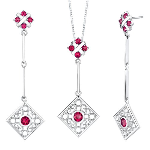 Revoni Round Shape Ruby Pendant Earrings Set in Sterling Silver
