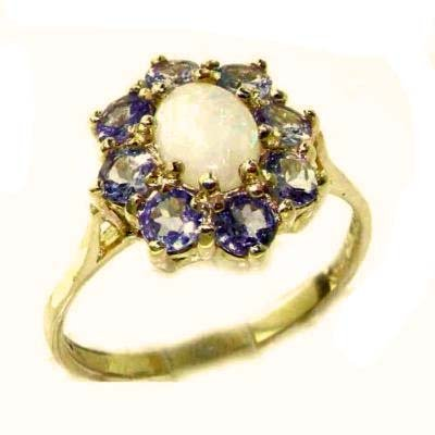Luxury Ladies Solid 14K Yellow Gold Natural Opal & Tanzanite Cluster Ring - Size 9.25 - Finger Sizes 5 to 12 Available - Perfect Gift for Birthday, Christmas, Valentines Day, Mothers Day, Mom, Mother, Grandmother, Daughter, Graduation, Bridesmaid.