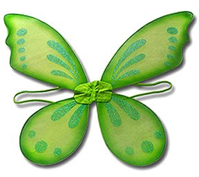 Green Wings: Pixie Tinkerbell Style Fairy Costume Wings