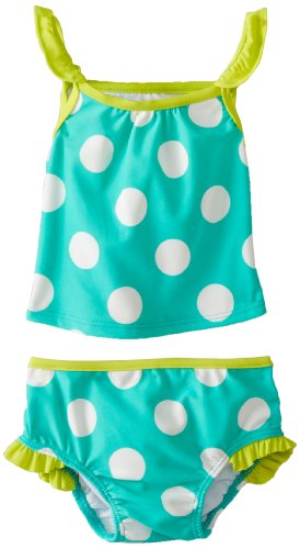 Carter'S Baby-Girls Infant Girls Polka-Dot Tankini Set, Green, 12 Months front-62439