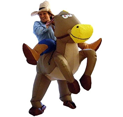 INFLATABLE HORSE RIDING COWBOY ADULT FANCY DRESS COSTUME