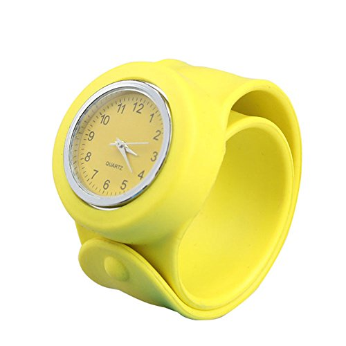 Nicerocker Multicolor Silicone Bracelet Watchband Sport Watch (Silicone Yellow)
