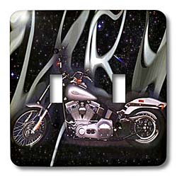 Light Switch Cover Picturing Harley-Davidson® Motorcycle - double toggle switch