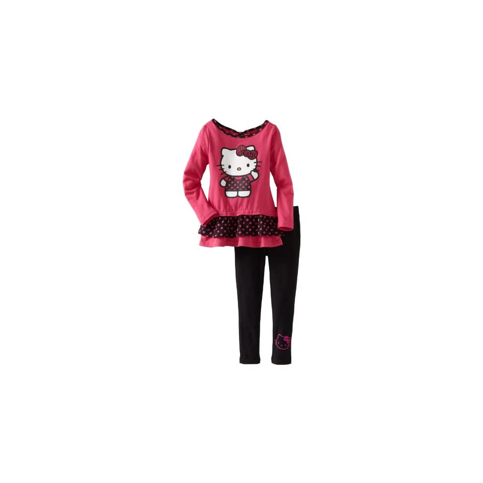 Hello Kitty Girls 2 6X Ruffle Legging Set With Polka Dot, Fush Purple, 5