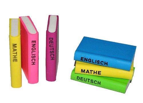 3 tlg. Set: 3-D Radiergummi als Bücher - Radierer Mathe Deutsch Englisch - für Kinder Schule Buch Schulanfang Deko
