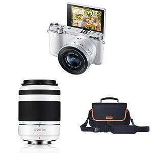Samsung NX3000 Mirrorless Digital Camera with 20-50mm Compact Zoom and Flash + NX 50-200mm f/4.0-5.6 OIS Zoom Camera Lens + NX Camera Bag