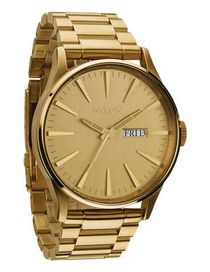Nixon Sentry All Gold Gold Dial Gold-tone Stainless Steel Mens Watch A356502