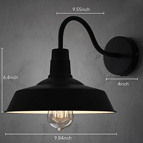 BAYCHEER HL371794 Industrial Retro style Aluminum Barn Warehouse Wall Sconce Wall Lamp Modern Lighting for Restaurant 1 Light, Black 1