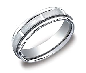 Men's Platinum 6mm Comfort Fit Plain Wedding Band with High Polished Round Edges and Vertical Cuts, Size 9