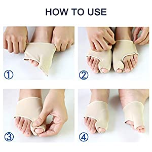 Bunion Corrector Big Toe Straightener Bunion Pain Relief Sleeves, 1 Pair Bunion Splint Support Protectors Sleeve with Built-in Silicone Gel Pad for Ha