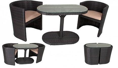 Garten Tischgruppe - Tisch + 2 Stuhle + Auflagen, Poly-Rattan coffee