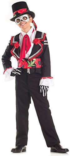 [Big Boys' Day Of The Dead Costume Small (4-6)] (Dia De Los Muertos Mariachi Costume)