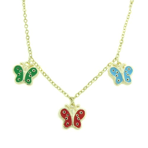 Lily Nily 18k Gold Overlay Children's Multi Colored Enamel Butterfly Dangle Necklace