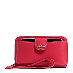 COACH Women\'s Box Program Leather Universal Pocket Phone Wallet SV/True Red Clutch