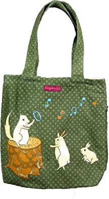 Bungalow360 Squirrel, Bunnies Playing Music Vegan Reversible Tote Bag