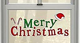 Merry Christmas Gel Window Clings ~ Merry Christmas with Santa Hat and Candy Canes (1 Long Sheet, 20 Clings)