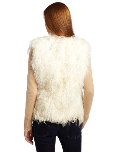 525 America Women''''s Mongolian Lamb Vest, Winter White, Small