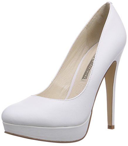 Buffalo London 112-2104 SILK LEATHER, Decolleté open toe donna, Bianco (Bianco), 37