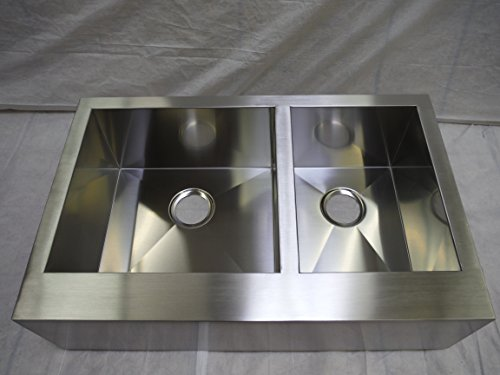 "Read About Monterey Bay 33"" Farmhouse Flat Front Apron Stainless Steel 60/40 Double Bowl Kitche..."