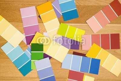 "Wallmonkeys Peel and Stick Wall Decals - Paint Color Swatches Spread out on Wood Floor. - 18""W x 12""H Removable Graphic"