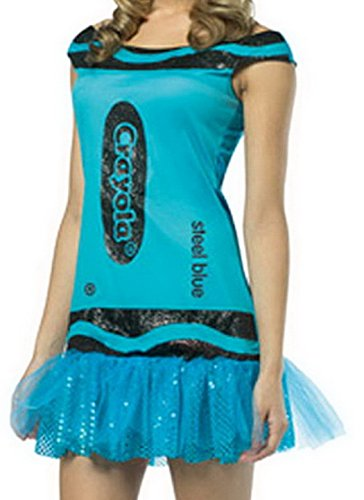Smile YKK Crayola Glitz Glitter Steel Blue Mini Dress Costume Cosplay Set