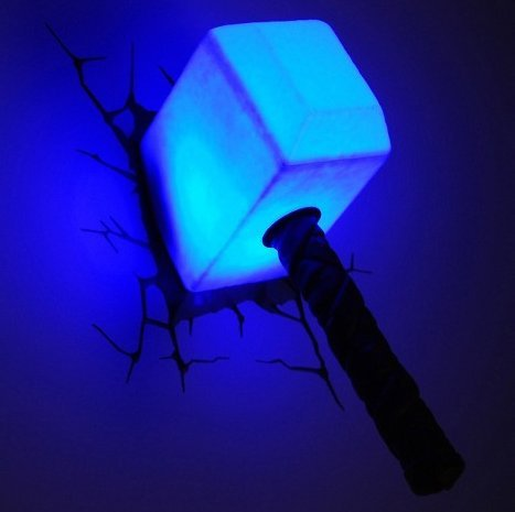 Avengers®- The Avengers 3D Wall Art Nightlight - Thor Hammer-Thor, Marvel Fans will love the hammer nightlight- A cool way to add some light in the dark-Guaranteed!