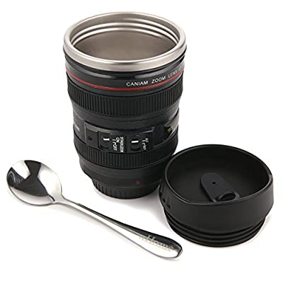 Coffee Mug - Camera Lens Travel Thermos  13.5oz - Black