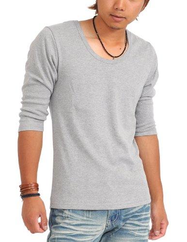 (スペイド) SPADE 七分袖Tシャツ メンズ Vネック Uネック Tシャツ 七分丈 無地 【q922】 (L, Uネック×グレー)