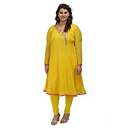 Damyantii Women's PLus Size Yellow Georgette Anarkali Kurta