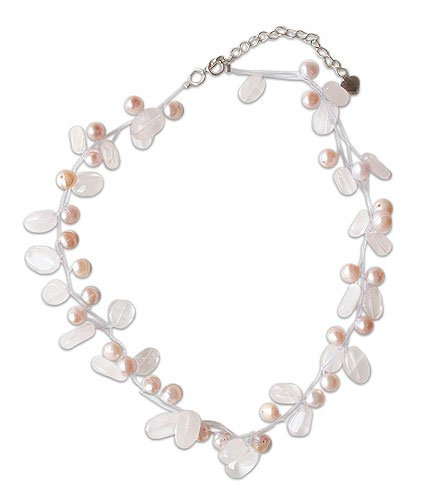Pink Pearl and Rose Quartz Choker, 'Ethereal' 1.2