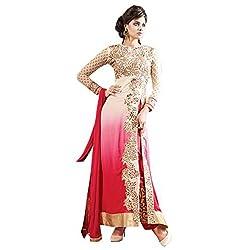 Parabdhani Fashion Women's Georgette Semi Stitched Suit (PBF_DM_42_Red_Free Size)