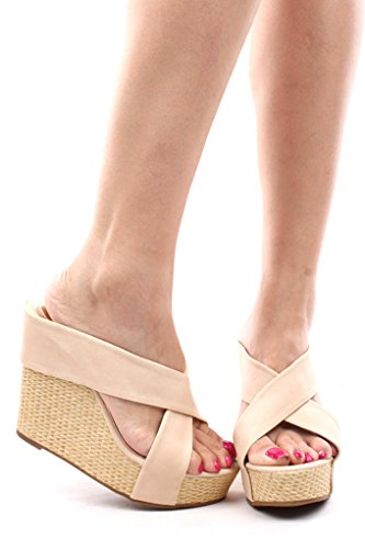Dbdk Faux Suede Bamboo Woven Slip In Platform Wedge Sandals 75 Nude back-313466