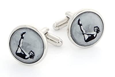 JJ Weston silver plated cufflinks with an image of a 1950's pin-up. Made in the U.S.A