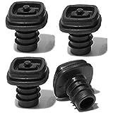 Metrokane Vacuum Stoppers, Black, Set of 4