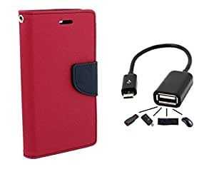 Relax And Shop Premium Flip Cover With OTG Cable For Samsung Galaxy J2 - (Bright Pink + OTG)