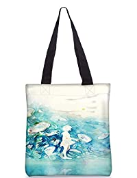 Snoogg Watercolor-Blue-Girl Digitally Printed Utility Tote Bag Handbag Made Of Poly Canvas