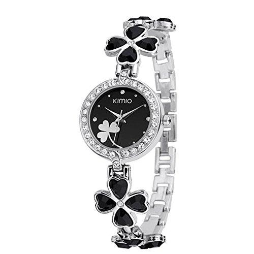 Dayan Ladies Quartz Bracelet Wristwatch Lucky Grass Leaf Clover Flower Watch Daily Stainlessl Black