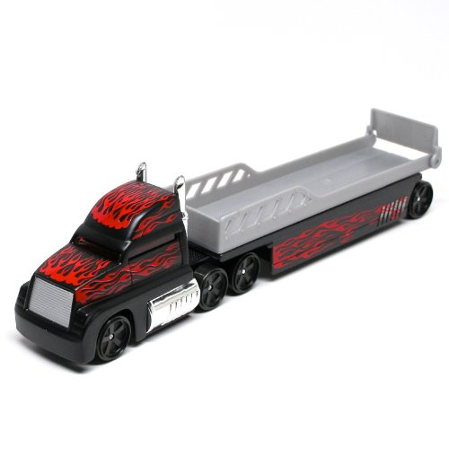 Auto Transport Flatbed (Black w/Flames) * On the Road Series * Maisto Highway Haulers 2010 Fresh Metal Die-Cast Tractor Trailer / Semi Truck Vehicle Collection