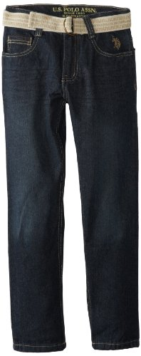 U.S. Polo Assn. Big Boys' Five Pocket Belted Jean, Vision Wash, 10