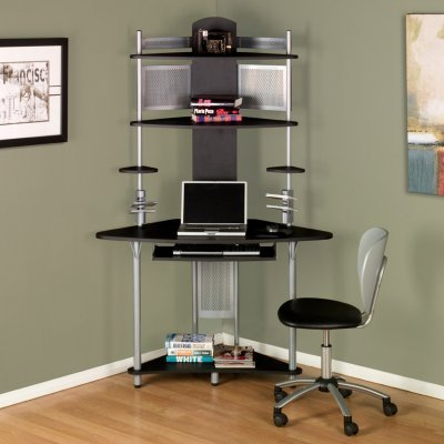 Picture of Comfortable Arch Corner Computer Workstation - Silver and Black - 50510 (B003ZT68F4) (Computer Workstations)