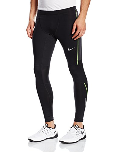 Nike Df Essential Collant da Corsa - Multicolore (Nero/Antracite/Volt) - M