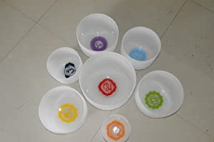 Chakra Tuned Set of 7 Frosted Crystal Singing Bowls 8-12 inch-with dhyana design