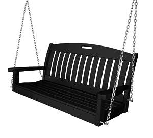 "POLYWOOD NS48BL Nautical 48"" Swing, Black"