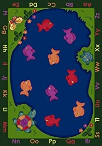 Joy Carpets 1498C FishiN Fun 5 ft.4 in. x 7 ft.8 in. 100 Pct. STAINMASTER Nylon Machine Tufted- Cut Pile Educational Rug