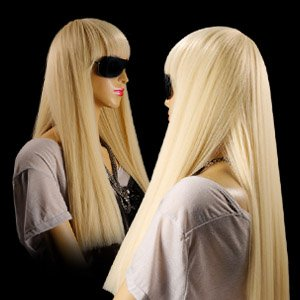 Blonde wig for lady gaga style costume 55cm