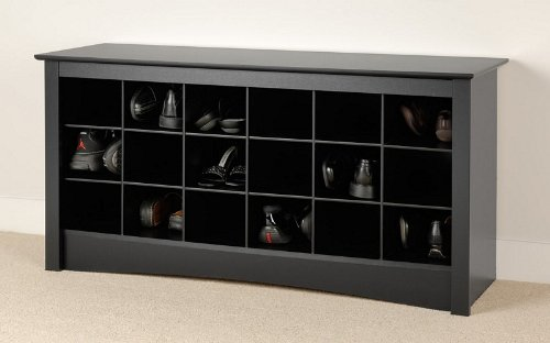 Entryway Shoes Storage Bench in Black Finish