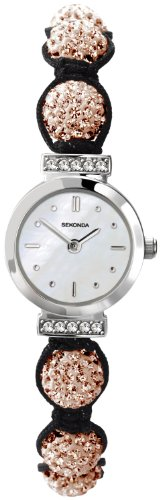 Crystalla by Sekonda Women's Quartz Watch with White Dial Display and Rose Gold Nylon Strap 4714.27
