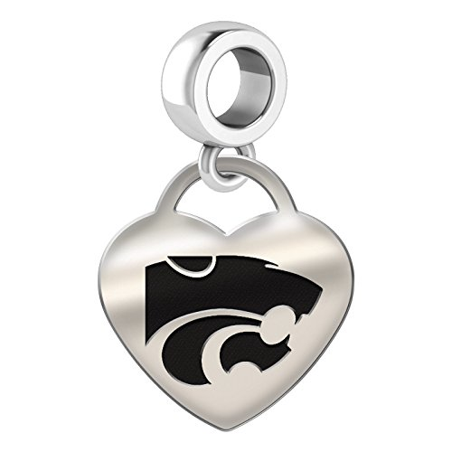 Kansas State Wildcats Heart Dangle Charm Fits All European Style Bead Charm Bracelets