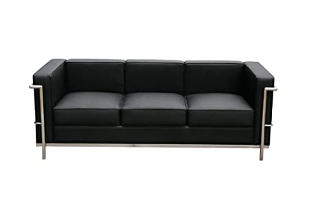 J&M Furniture Cour Black Top Grain Italian Leather Sofa